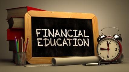 Financial Education Handwritten by white Chalk on a Blackboard.