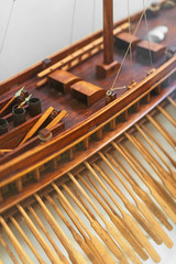 Wooden ship model in the maritime museum.