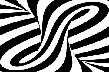 Black and White Swirls Torus Abstract Background