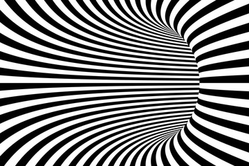 Black and White Lines Abstract Tunnel Background