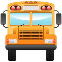 School bus vector illustration, front view.