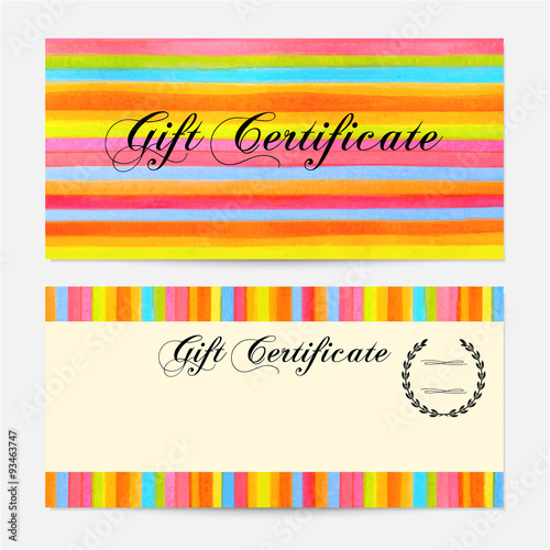 Gift Certificate, Voucher, Coupon, Gift Money Bonus, Gift Card Template  With Colorful  Money Certificate Template