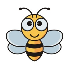 Simple Cartoon Bee Vector isolated on a white background