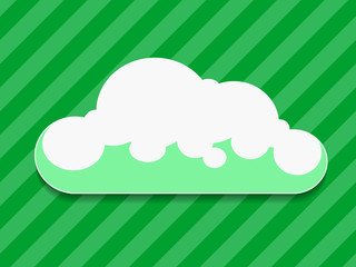 Green cloud with shadow vector illustration