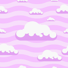 Seamless vector pink clouds pattern background