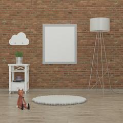 kids bedroom interior 3d rendering image