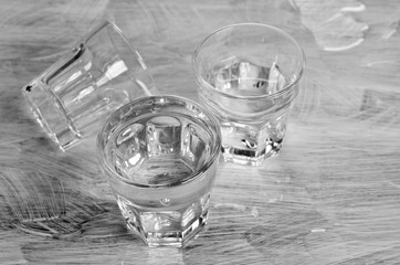 Glasses with a clear liquid