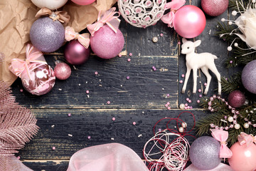 Christmas Composition in Pink/The designer has prepared a Christmas background in pink
