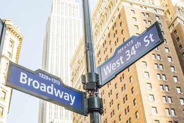 Broadway 34th Street Sign Manhattan