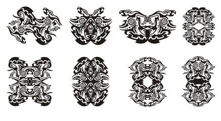 tribal dragon frames and double dragon sings with circle - Dragon Frame
