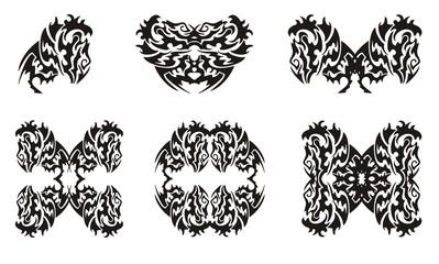 Tribal monkey symbols. Gorilla head and gorilla frames isolated on a white background
