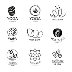 wellness and spa and yoga center logo set