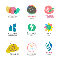 Yoga and health care insignia templates set