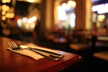 restaurant interior blurred background