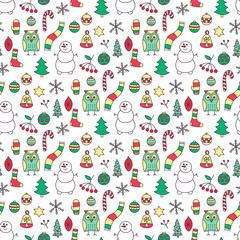 Winter seamless pattern. Hand drawn doodle winter elements - spruce, owl, snowman, scarf, mittens, socks, star, berries, branch, snowflake, Christmas tree balls. Red, green, yellow colors.