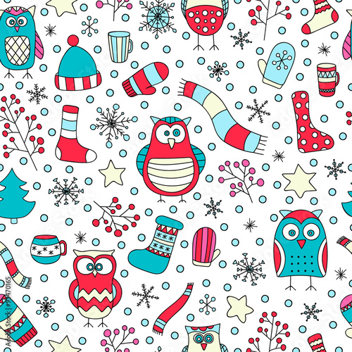 d1a4e84d9cbad Christmas seamless pattern. Vector hand drawn winter elements. Fun doodle  background for kids.