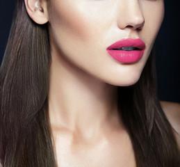 Perfect pink Lips of sexy beautiful girl model