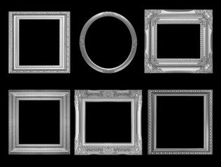 Set of gray vintage frame isolated on black background