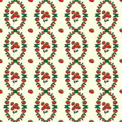 Red berries seamless vector pattern background