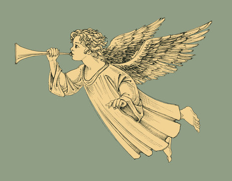 Retro style Christmas angel