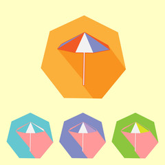 Colorful flat umbrella icon set