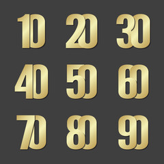 Vector gold font numbers