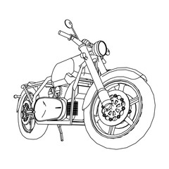 Road bike. Motorcycle in the contour lines. Silhouette of a