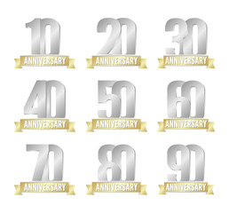 Vector set of anniversary silver signs
