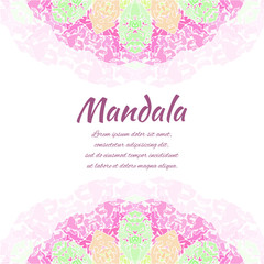 Abstract mandala. Floral ornamental border . Round pattern, oriental style. Decor for your design, lace ornament. Vector illustration.