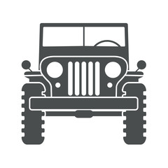 Icono plano jeep frontal gris