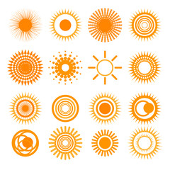 Orange Sun collection icons. Set of sun icons isolated on white background. Vector illustration.