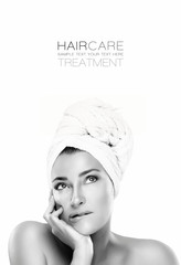Gorgeous Spa woman with a pensive expression. Haircare concept