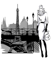 Wall Mural - Fashion models in sketch style fall winter with Paris city near Eiffel tower