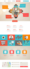 Flat one page website design template. Vector Eps 10
