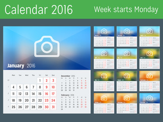 Desk Calendar for 2016 Year. Vector Design Print Template with Place for Photo. Week Starts Monday. Calendar Grid with Week Numbers. Set of 12 Months