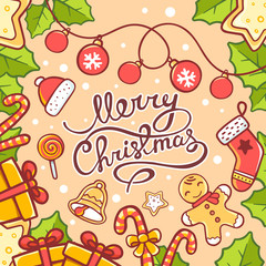 Vector illustration of red and green christmas items and hand wr