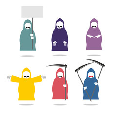 Set Grim Reaper  in coloured raincoats. Death in different posit