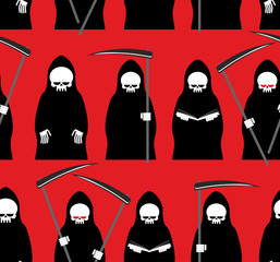 Death seamless pattern. Grim Reaper red background. Texture for