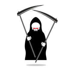Death with two scythe. Ferocious Grim Reaper with red eyes. Skel