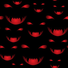 vector seamless pattern of scary halloween smiles