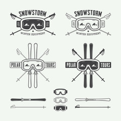 Vintage ski and arctic expeditions logos, badges, emblems