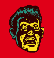 Vintage frightened man with scared and terrified face expression looking at something disturbing or mind-blowing, comic book style portrait with light from below
