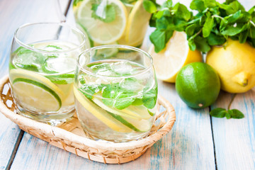 lemonade with lemon, lime and mint