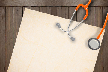 stethoscope and paer on wood  background.
