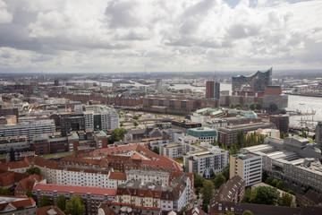 Panoramablick über Hamburg vom Kirchturm St. Michaelis