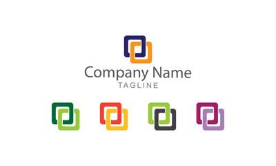 Twin Square Logo Vector
