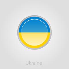 Ukraine flag button, vector illustration