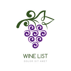 Vector linear grape vine logo design template. Concept for organ