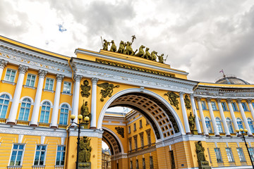 Triumphal Arch of General Staff Building in St. Petersburg, Russ