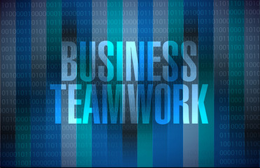 business teamwork binary sign concept